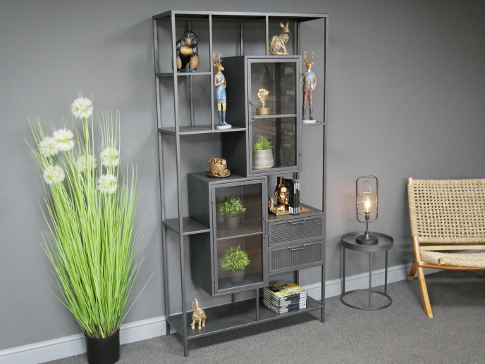 Large industrial metal storage display cabinet