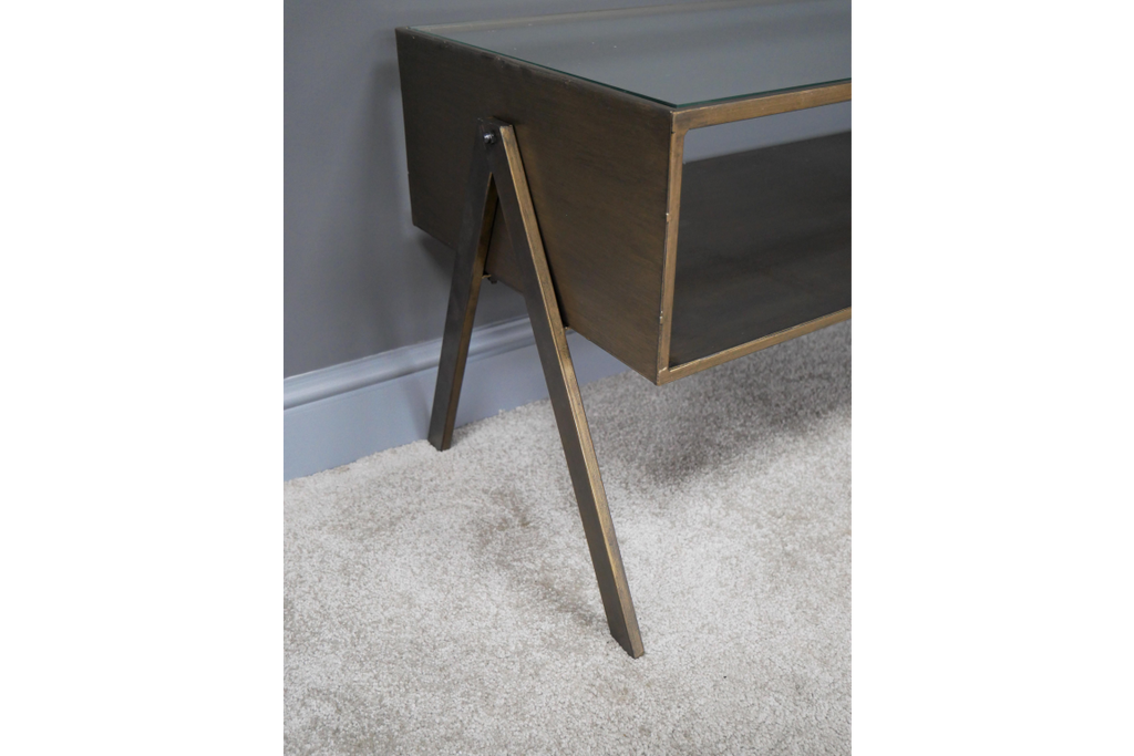 Rectangular metal & glass topped coffee table