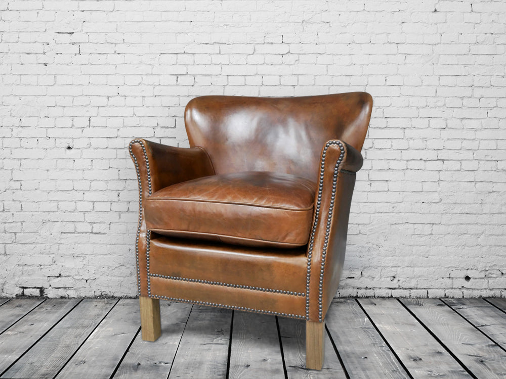 Brazilian Cognac Leather Large Cosy Armchair