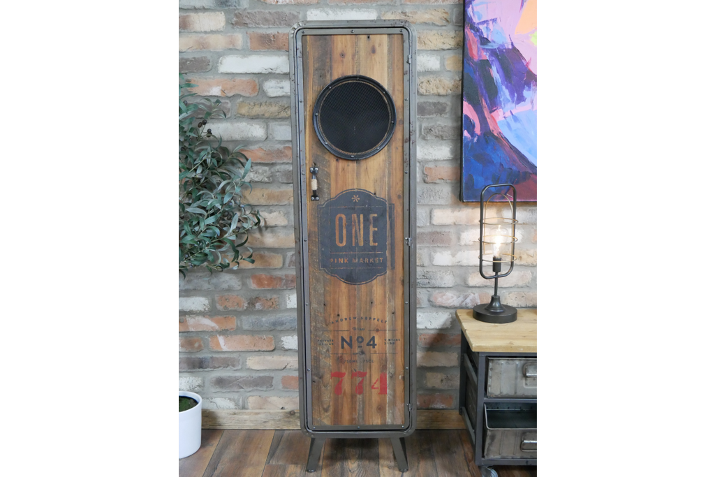 Tall rustic wood & metal industrial retro storage locker