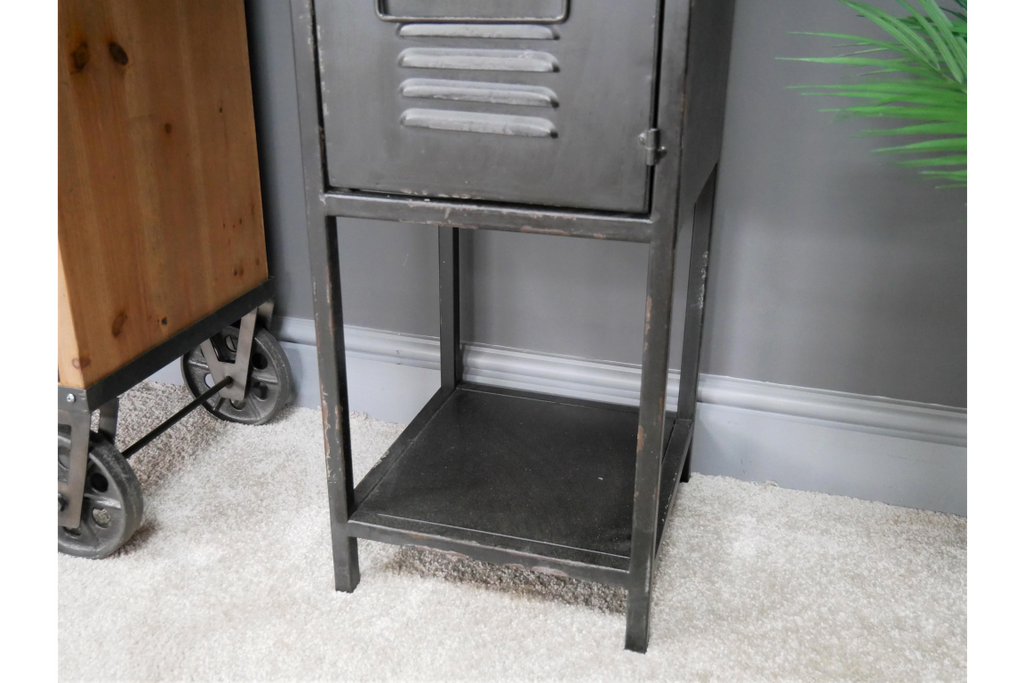 Tall slim black metal industrial retro storage cabinet