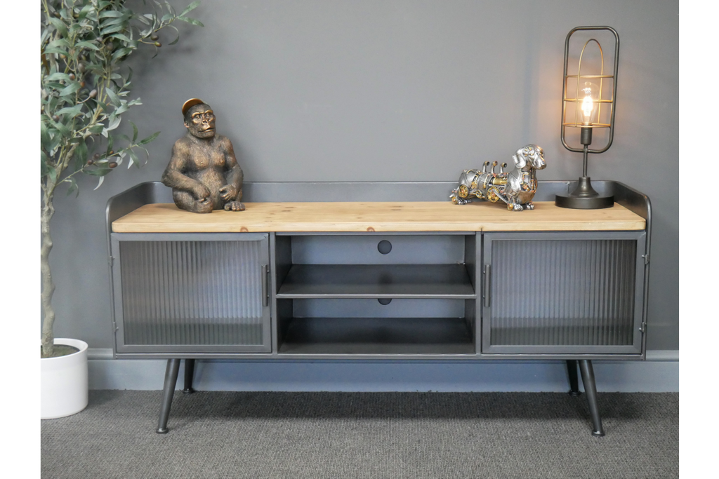 Metal & ribbed glass industrial retro Tv cabinet.
