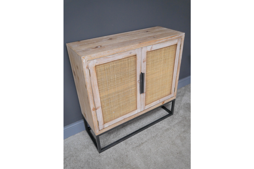 Wood & rattan storage cabinet. Industrial boho style.