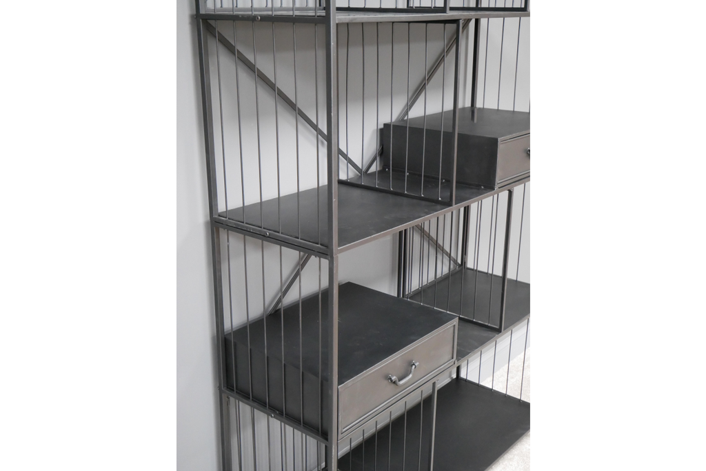 Large impressive industrial metal storage display cabinet