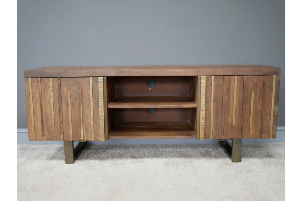 Stylish wood and brass tv cabinet