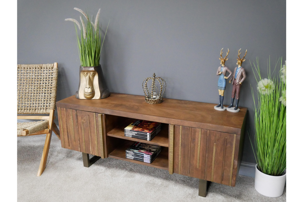 Solid wood & brass stylish tv cabinet.