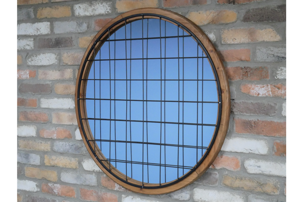 Large round industrial rustic mirror