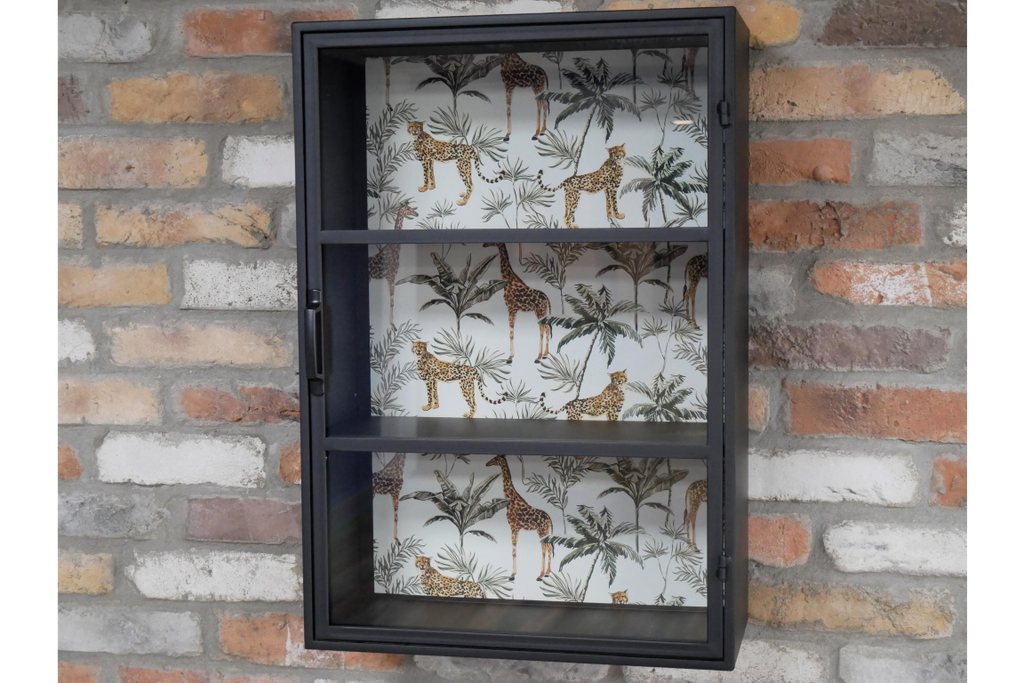 Metal and glass fronted industrial style wall display cabinet