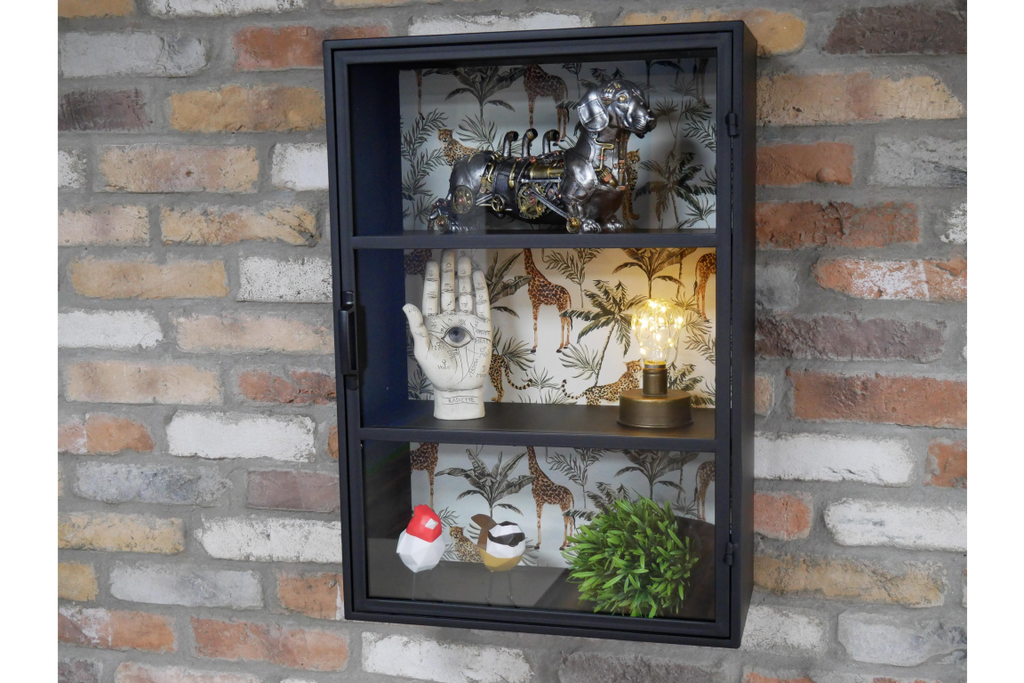 Metal and glass fronted industrial style wall display cabinet.