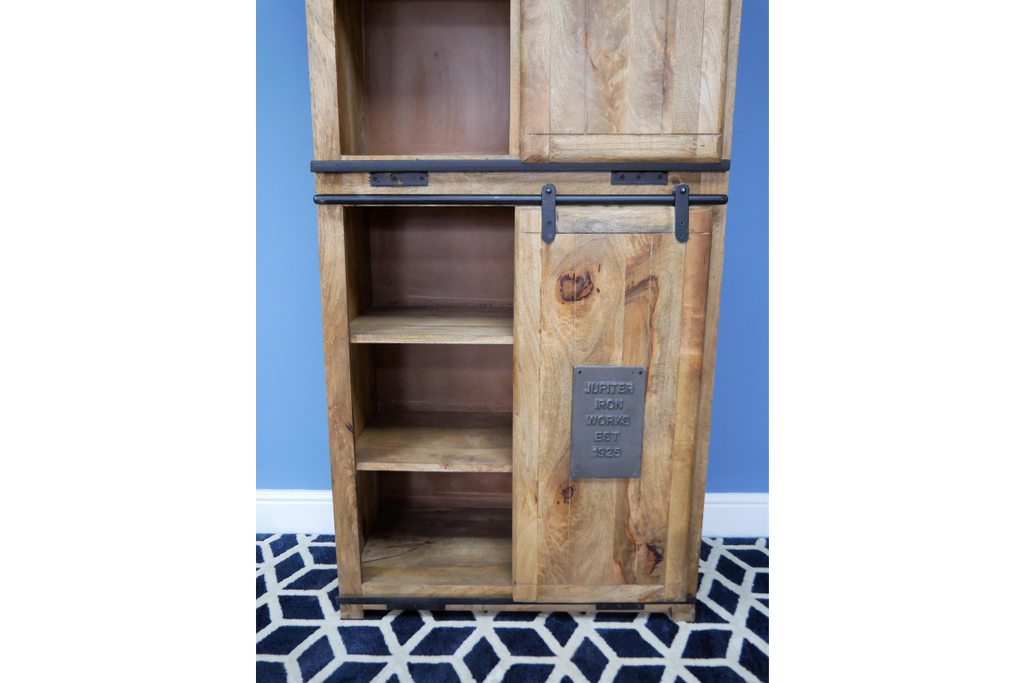 Large Wood & Iron Industrial Storage Cabinet.