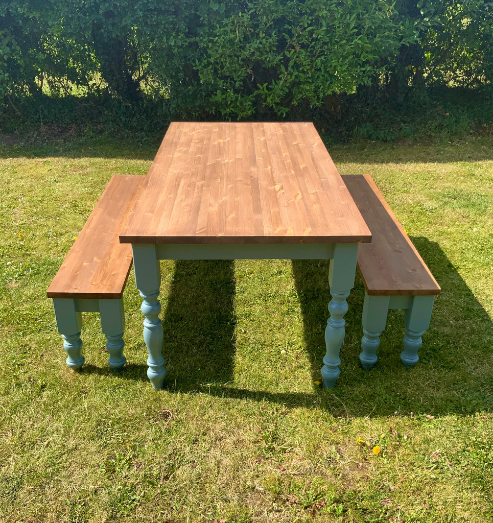 Pine Farmhouse Dining Table Set. Table & Benches.
