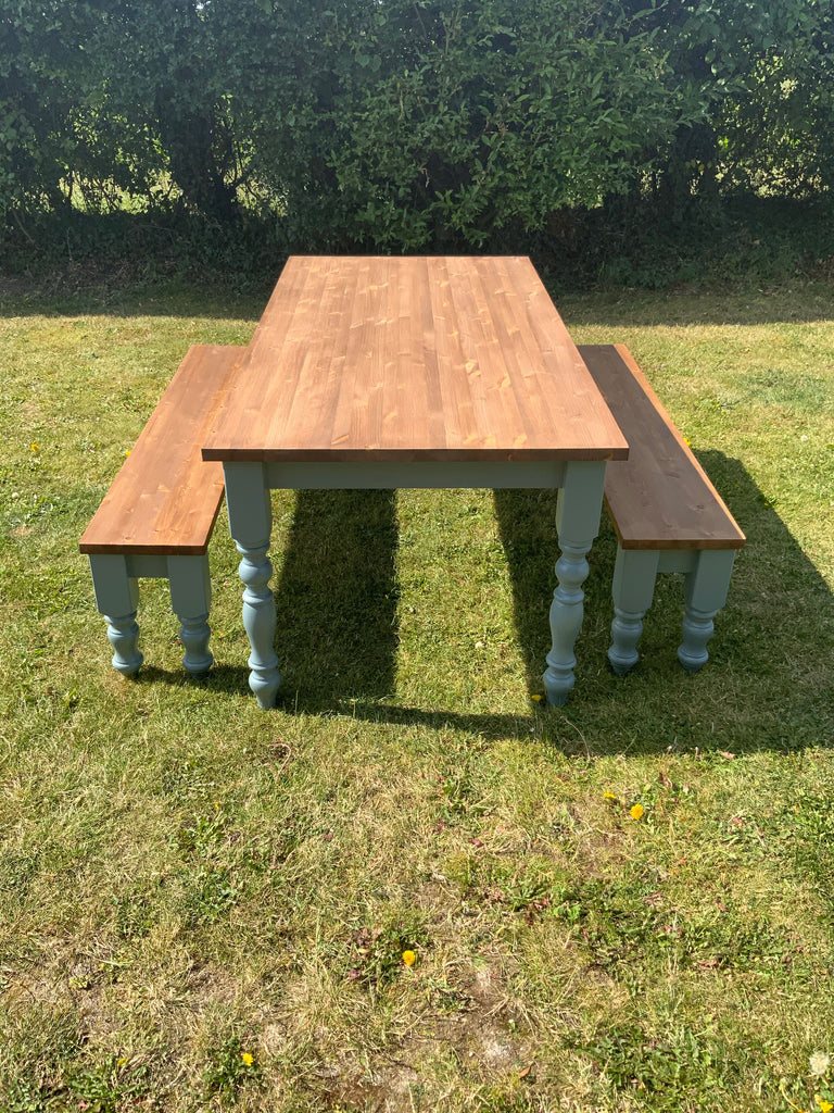 Farmhouse Dining Table Set. Table & 1 or 2 Bench Seats. Any size or colour. Custom made.