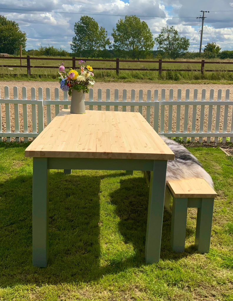 Pine Farmhouse Dining Table Set. Table & Benches. Straight Legs.