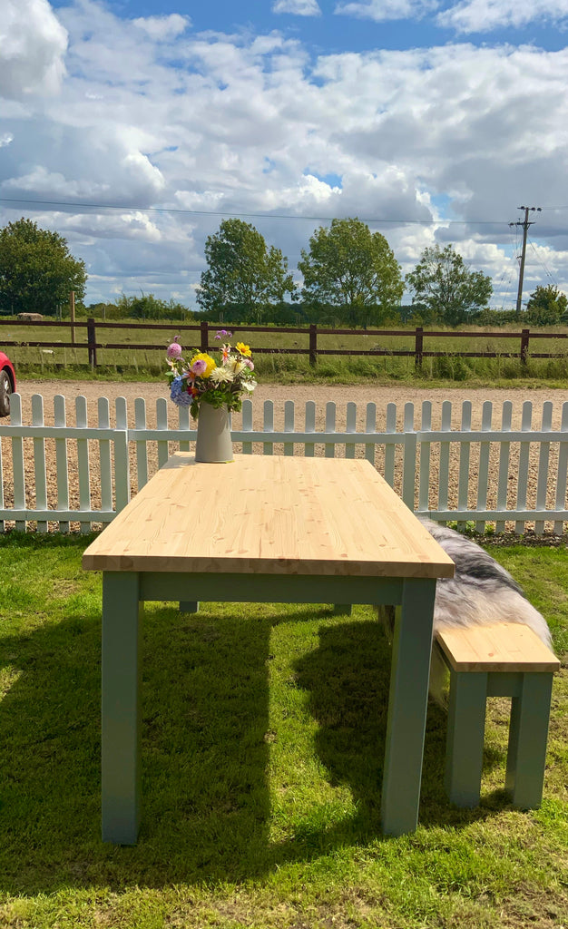 Pine Farmhouse Dining Table Set. Table & 1 or 2 Benches. Any size. Any colour.