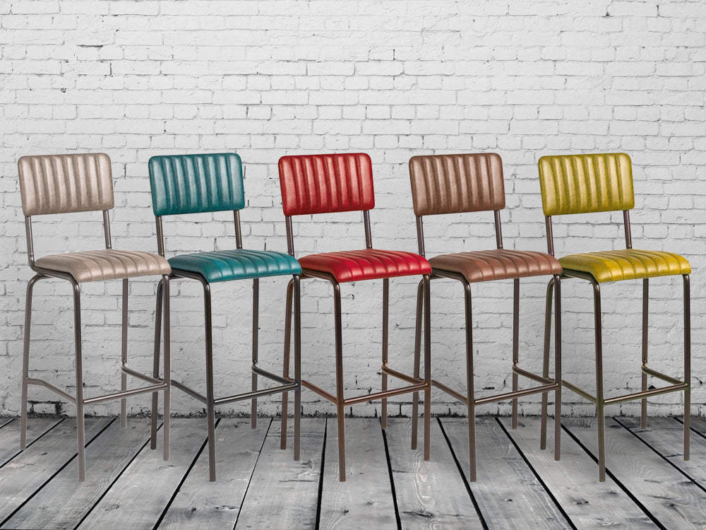Industrial retro bar stools. 5 vintage colours