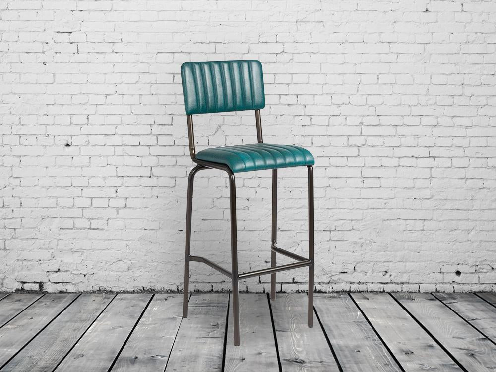 Industrial retro bar chairs. Vintage teal