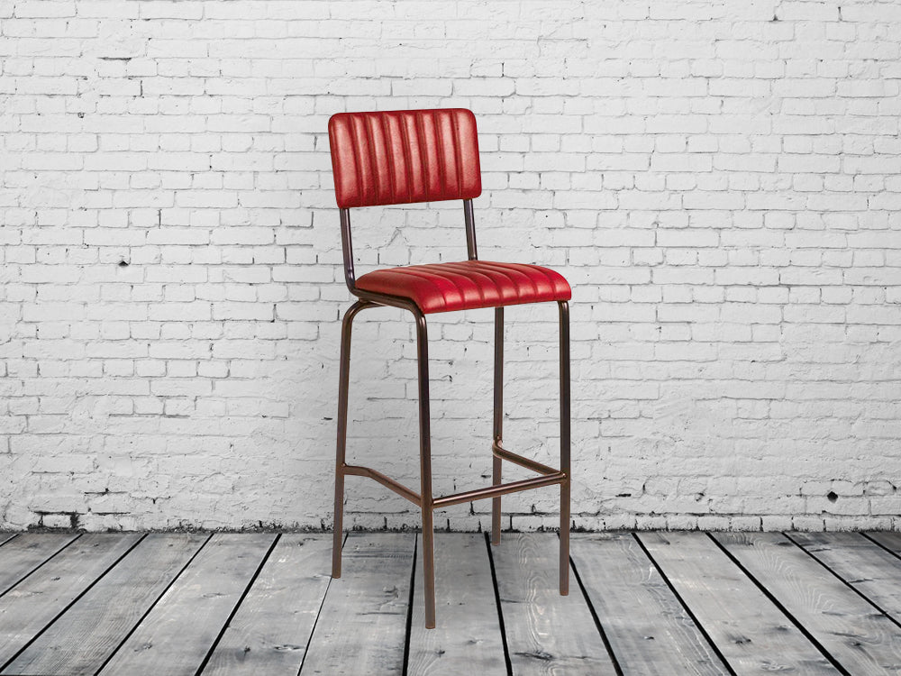 Industrial retro bar chairs in vintage red