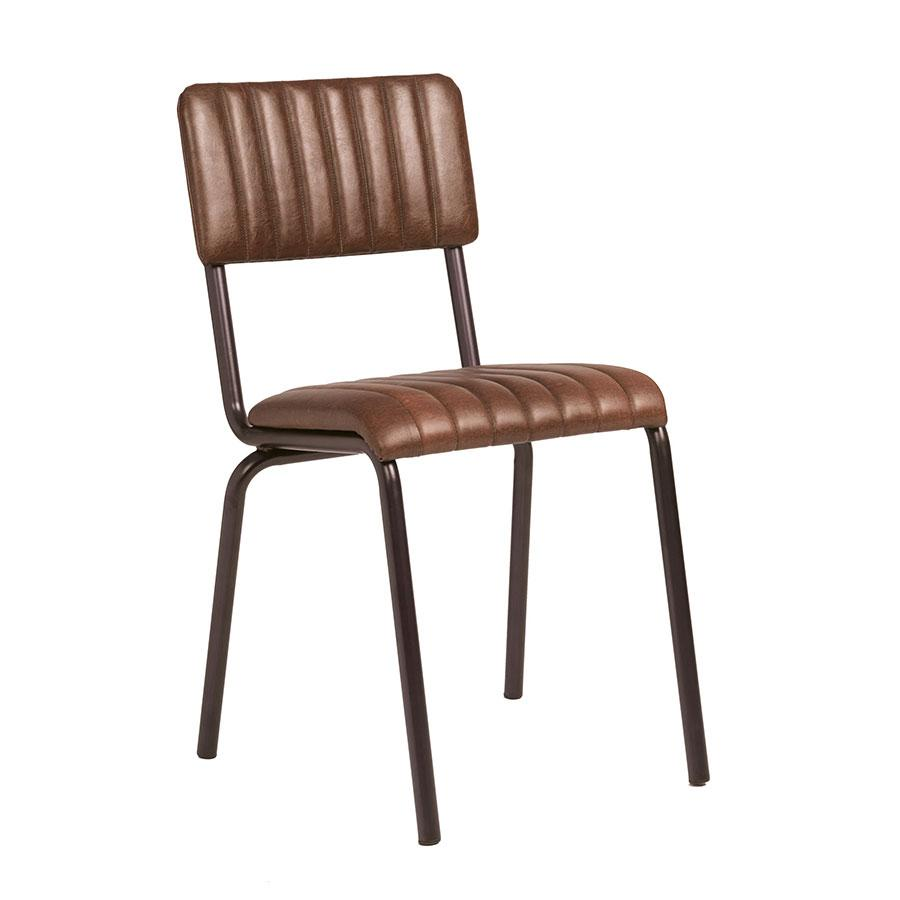 Set of Camden industrial retro dining chairs in vintage brown.
