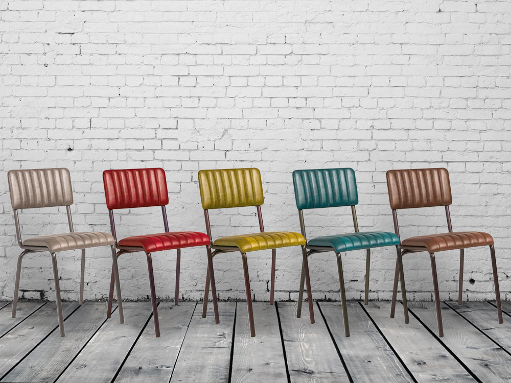 Industrial retro dining chairs. 5 vintage colours
