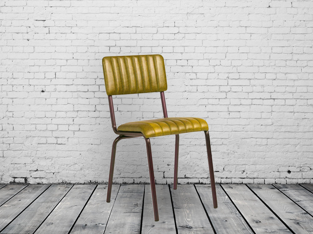 Industrial retro dining chair. Vintage gold