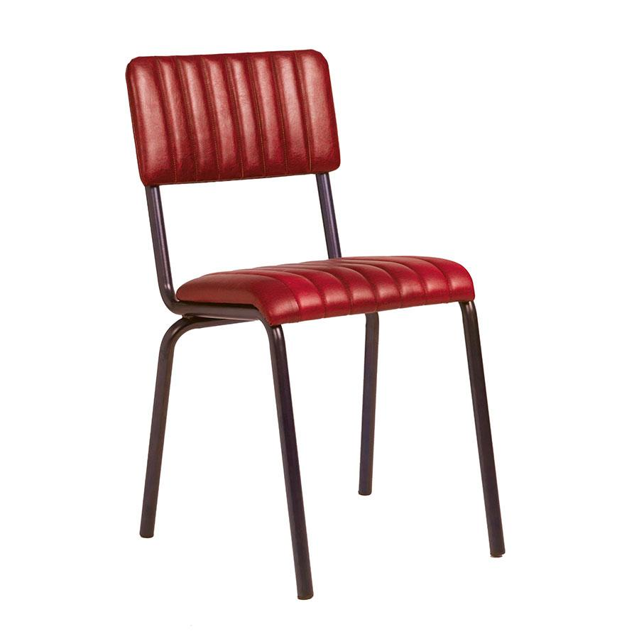 Camden industrial dining chair in vintage red leather.