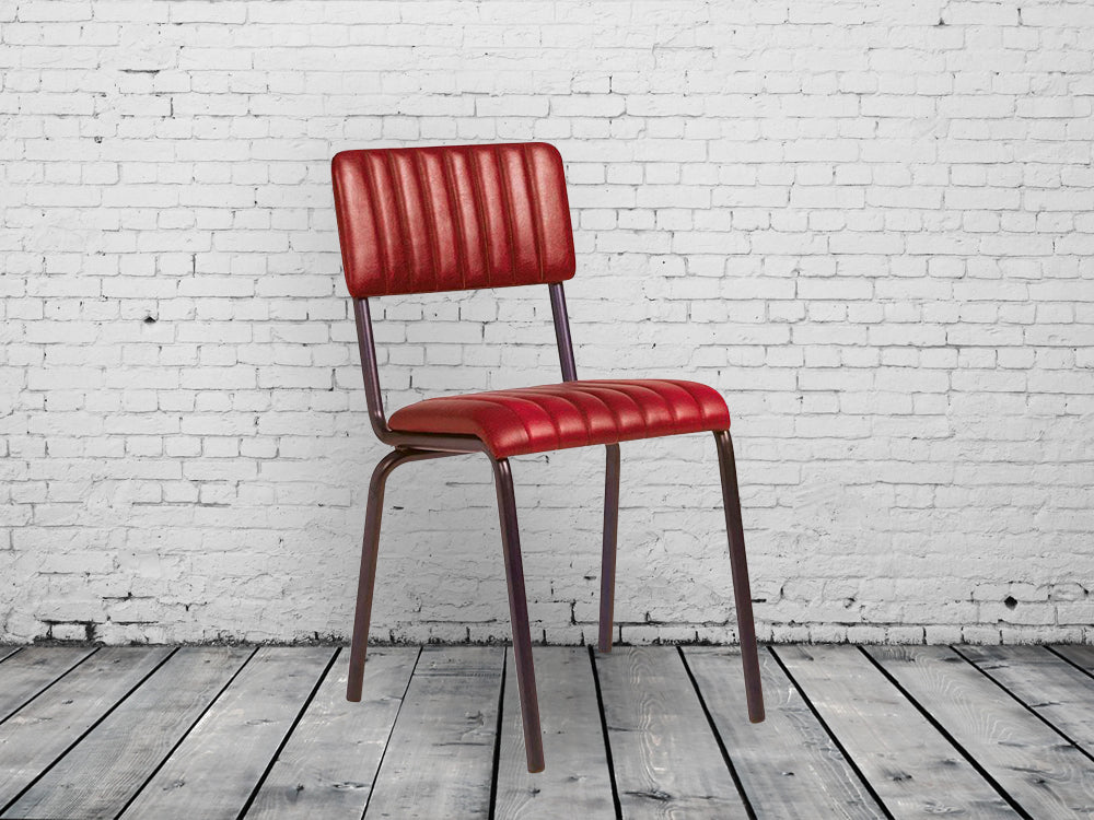 Industrial retro dining chairs.