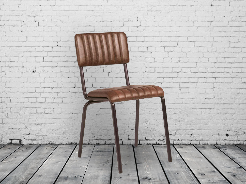 Industrial retro dining chairs. Vintage brown