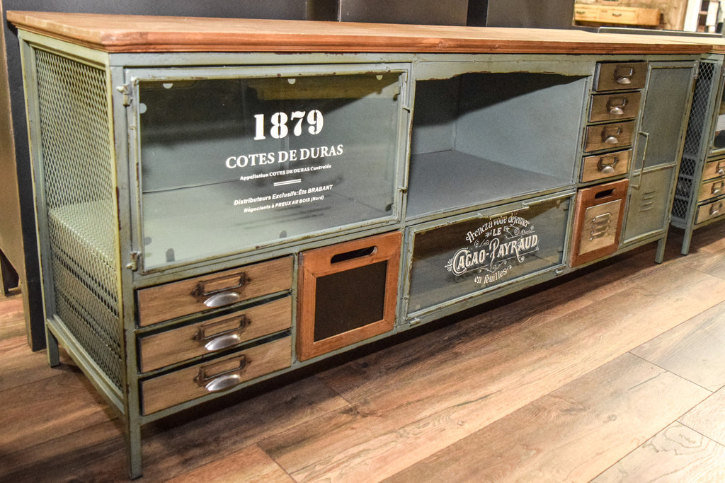 Large industrial metal & wood  storage TV cabinet.
