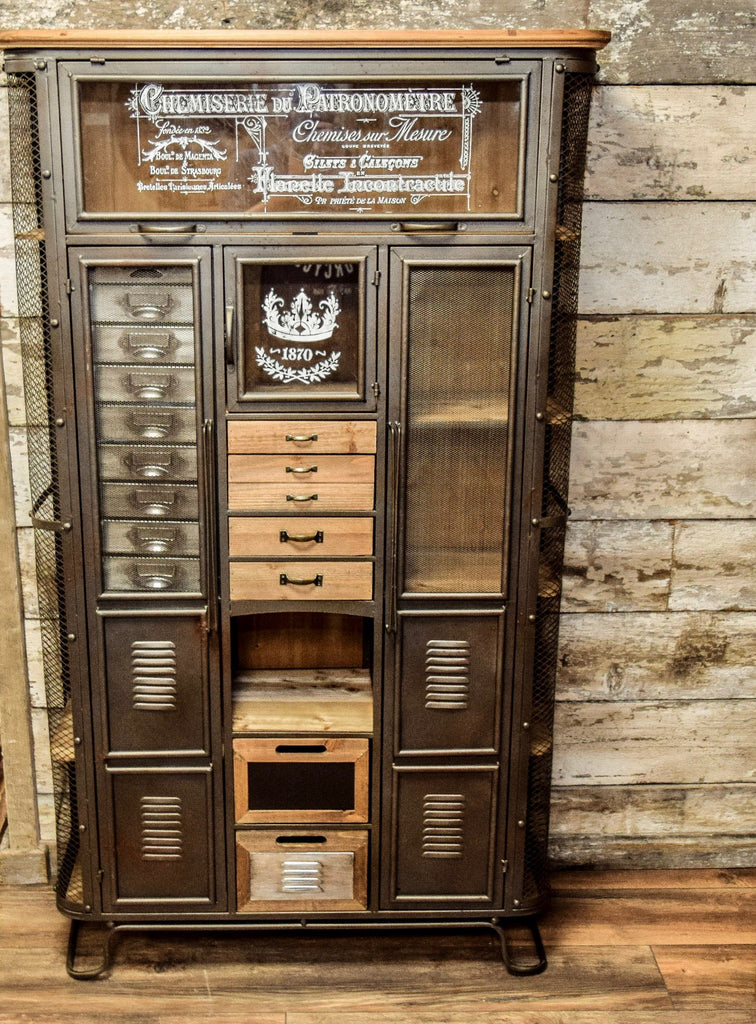Large Industrial Retro Storage Display Cabinet