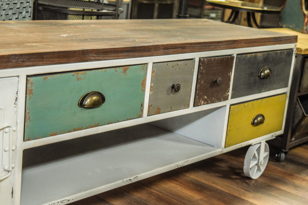 Industrial Vintage Style Multi Drawer TV Cabinet