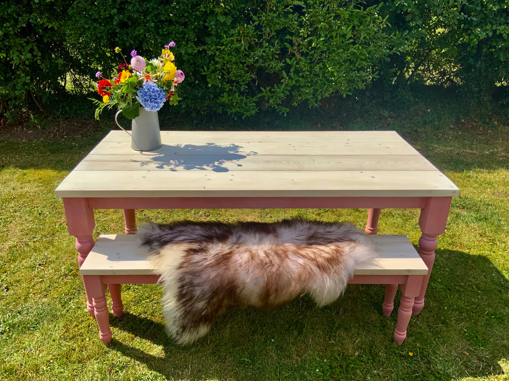 6ft Nordic Pink Farmhouse Table & Bench Set.