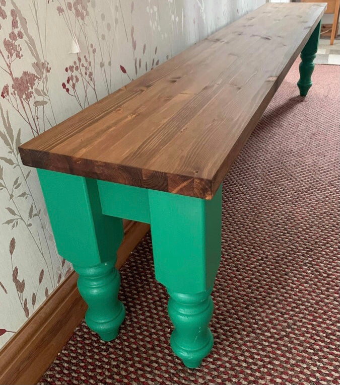 Farmhouse bench seats. Occasional or dining bench. Any size & colour made.