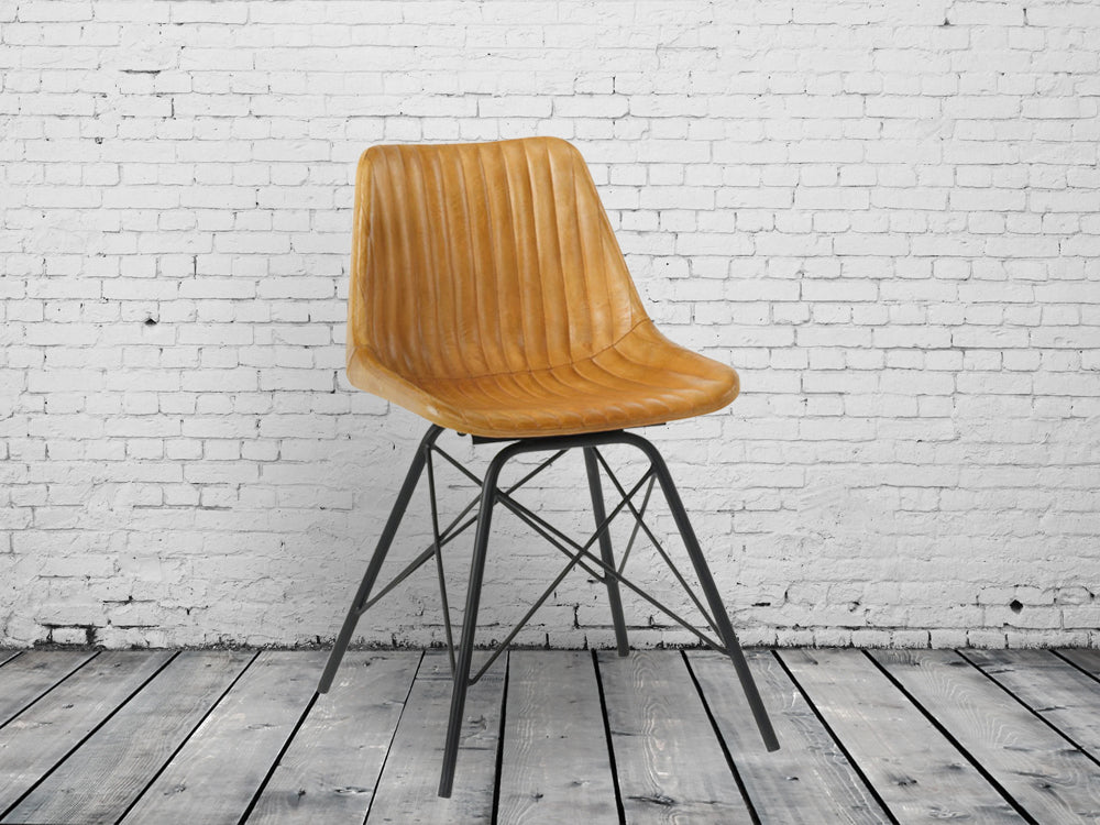 Industrial retro leather dining chairs
