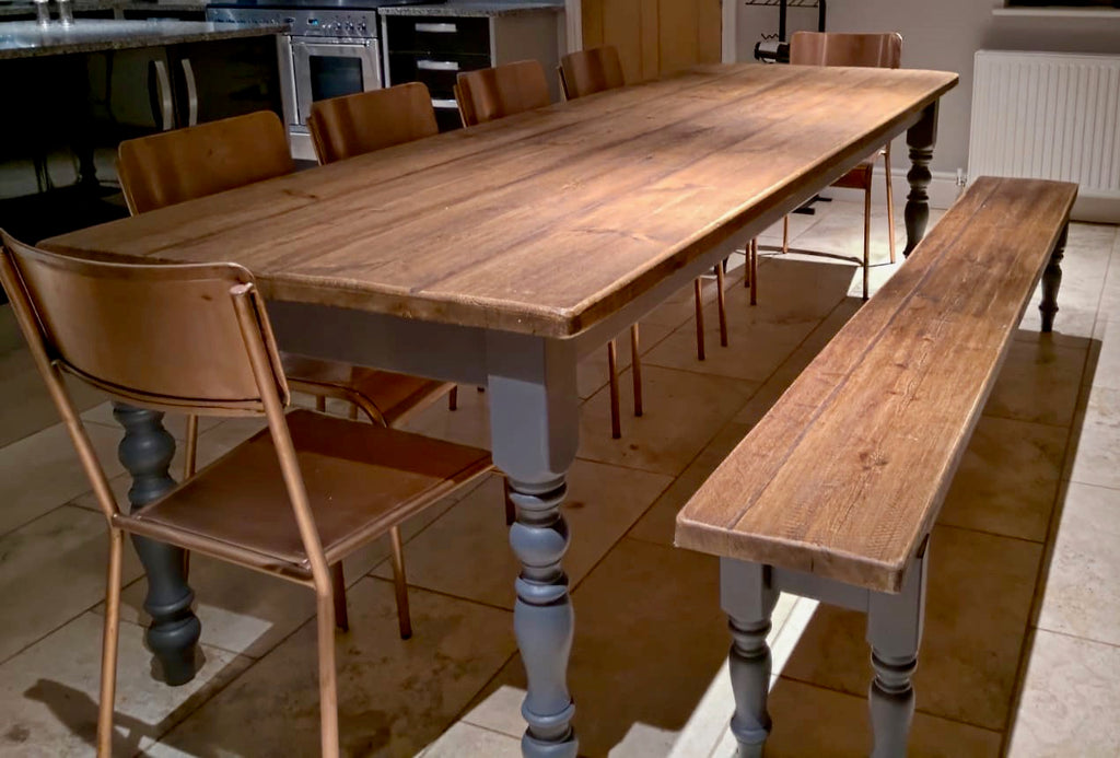 Farmhouse table dining set. 9ft pine Table, 1 seating bench & six chairs. Seats 10 to 12.