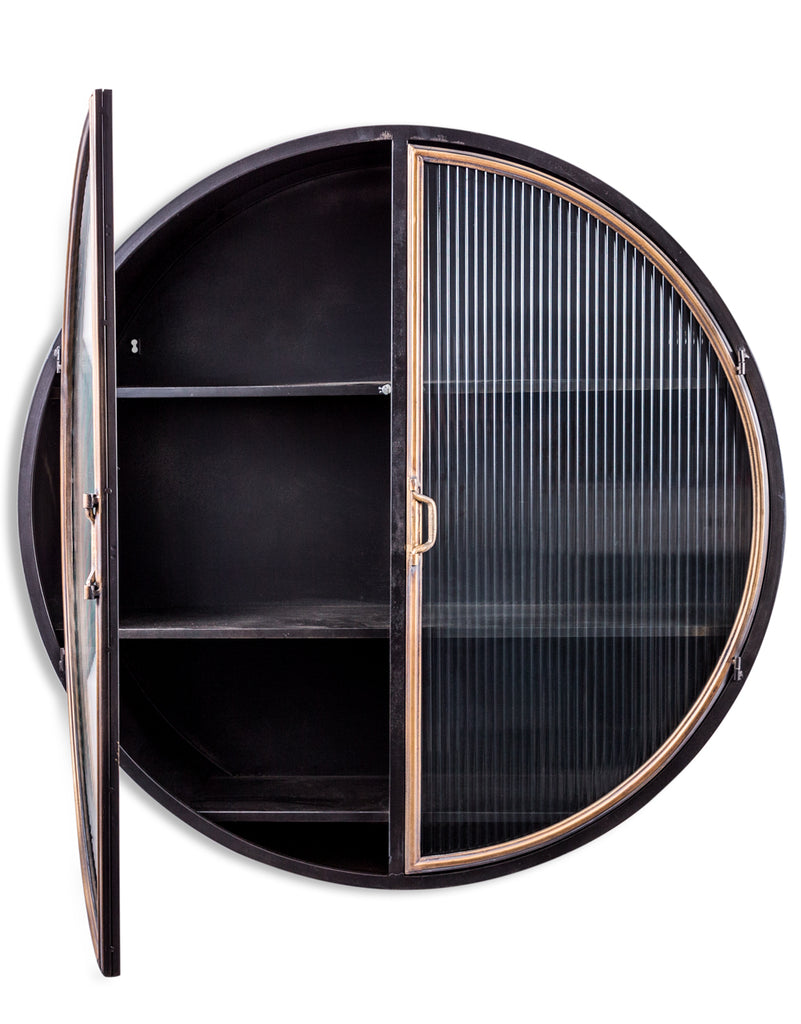 Black large round Industrial retro metal wall cabinet with ribbed glass doors.