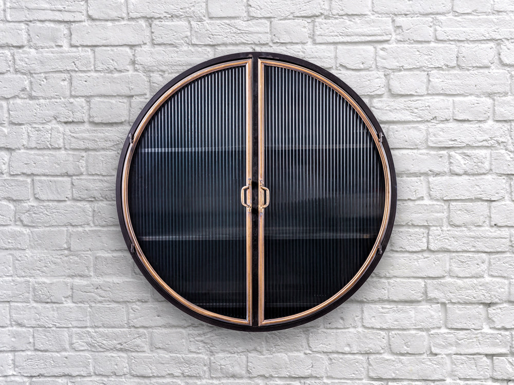 Industrial retro round metal wall cabinet
