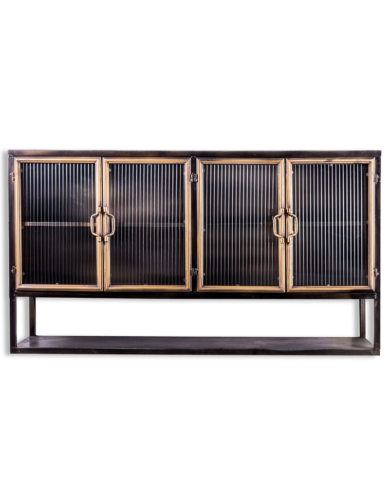 Black & muted gold large wide rectangular Industrial retro metal wall cabinet.