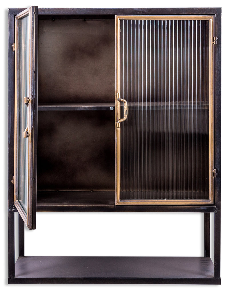 Black & muted gold square Industrial retro metal wall cabinet.