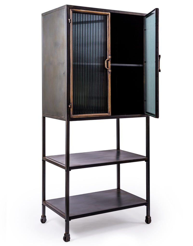 Black & muted gold metal tall industrial cabinet.