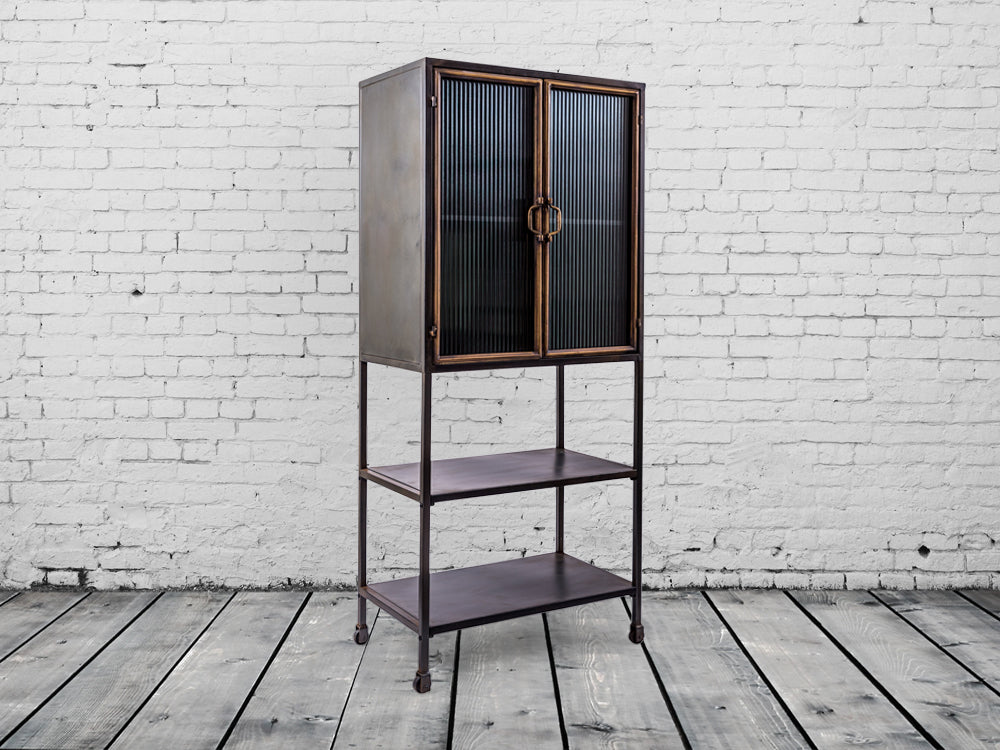 Tall ribbed glass industrial cabinet