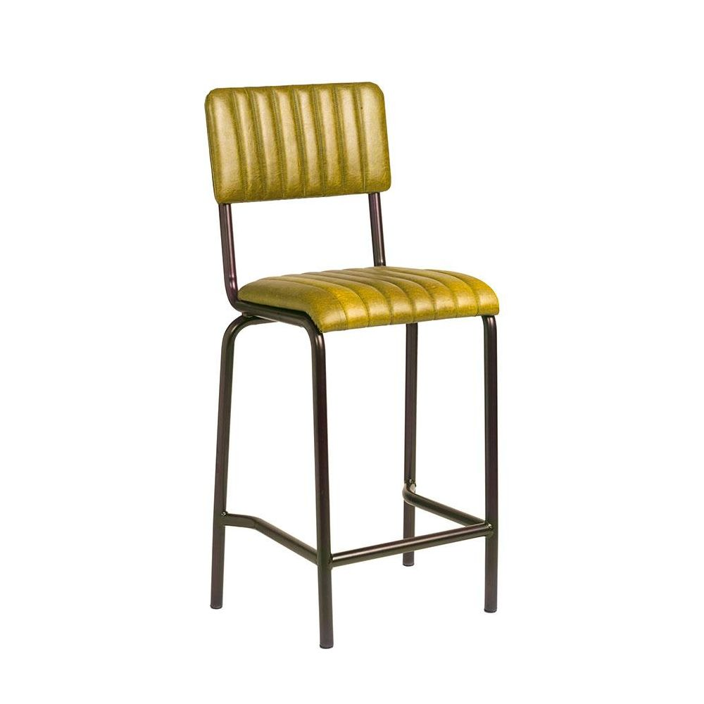 Set of Camden Industrial retro bar chairs in vintage gold.