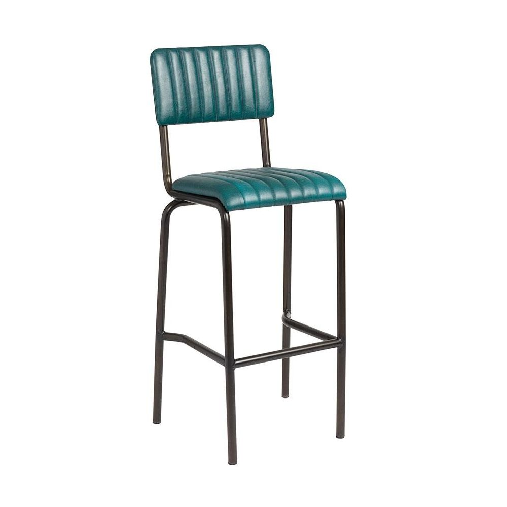 Set of Camden Industrial retro bar chairs in vintage teal.