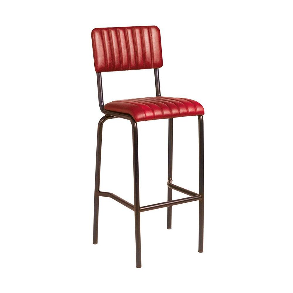 Set of Camden Industrial retro bar chairs in  vintage red.