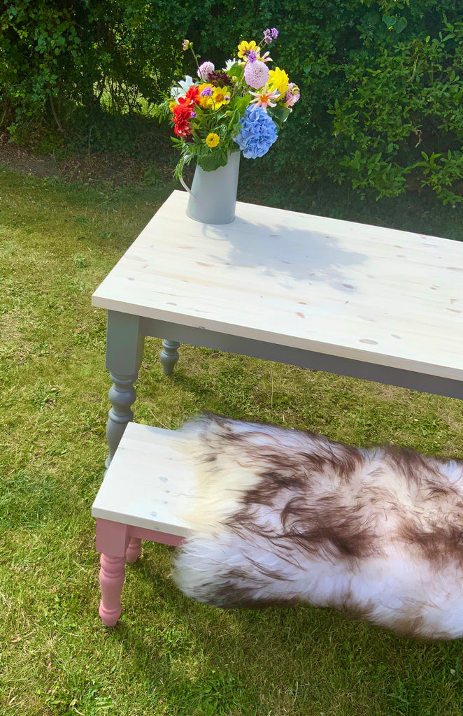 Pine Farmhouse Dining Table with 40mm Whitewashed Table Top