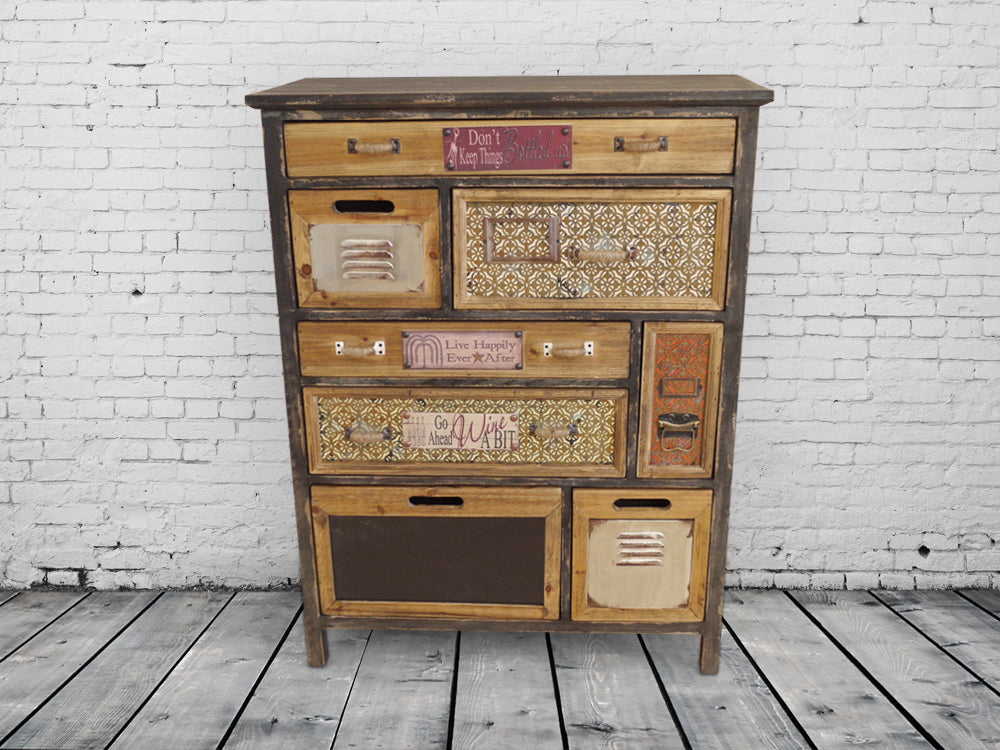 Pretty patchwork multi drawer storage cabinet. Vintage style.