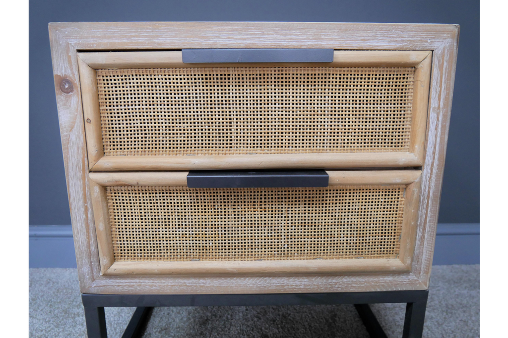 Pair of Wood & rattan bedside cabinets. Industrial boho style.