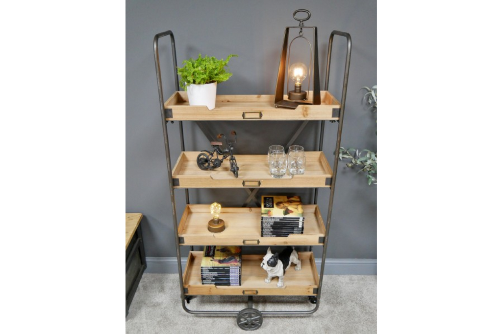 Tall 4 Tier Industrial Metal and Wood Shelving Storage Unit
