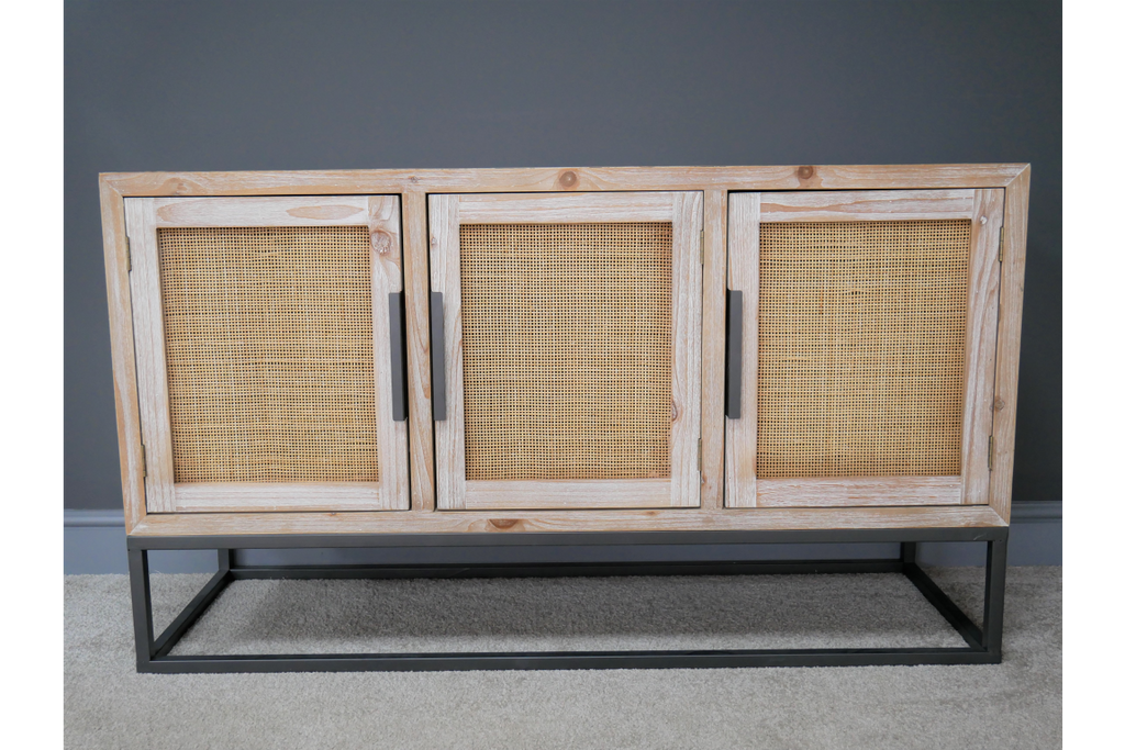 Wood & rattan low storage cabinet /sideboard. Industrial boho style.