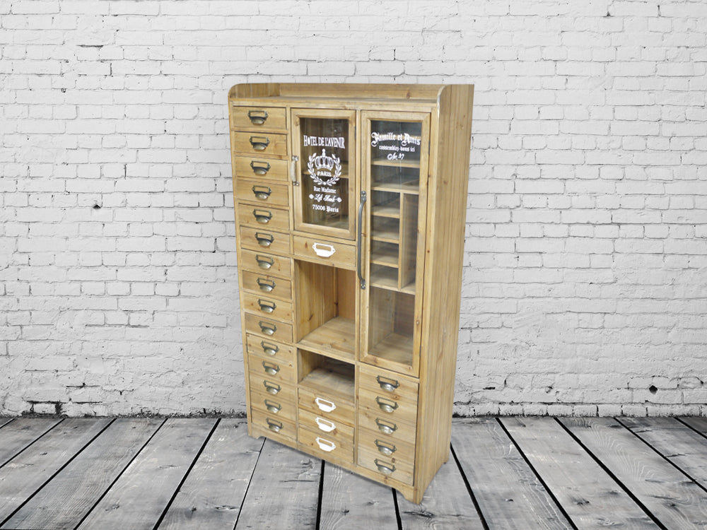 Large Wood Industrial vintage storage cabinet.