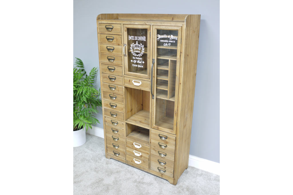 Large Wood Industrial vintage storage display cabinet.